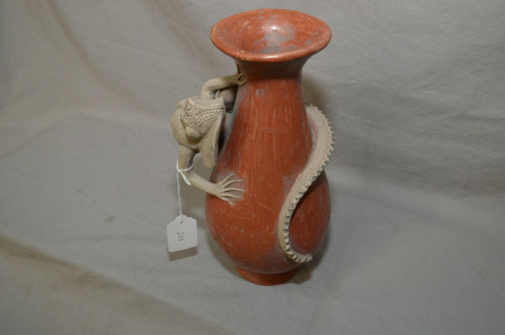 Unusual Handmade Pottery Vase With Attached Iguanalizard 10 12 In
