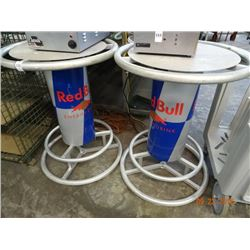 2 Red Bull Aluminum Bar Top Tables - 2 Times the Money