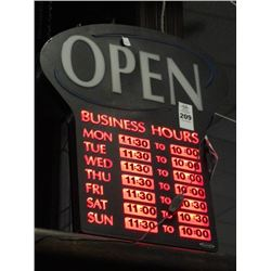 Lighted Open Business Hour Sign - No Shipping