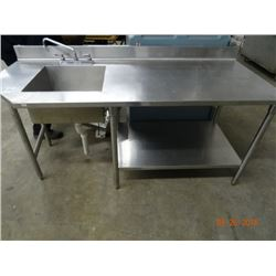 S/S 6' Table w/Sink, Backsplash & Undershelf