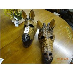 2 Wood Giraffe Carvings - 2 Times the Money