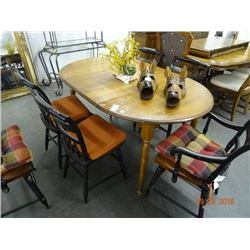 Mahogany Flower Accented Table & 6 Chairs - Hitchock Stencils