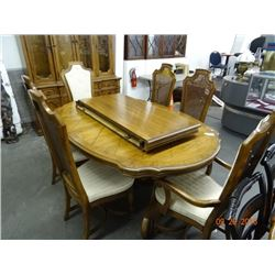 Tiger Oak Scalloped Edge Dining Table, China Hutch & Server