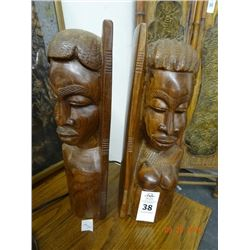 Carved African Bookends