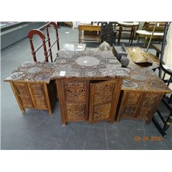 Set of 3 Carved African Mahogany Side Tables