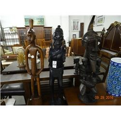 3 African Wood Carved Statues - 3 Times the Money