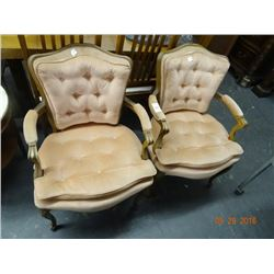 2 Pink Victorian Chairs - 2 Times the Money