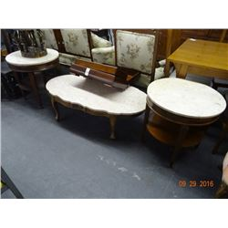 Set oak granite top coffee table 2 round end tables bay area auction services Granite top coffee table sets