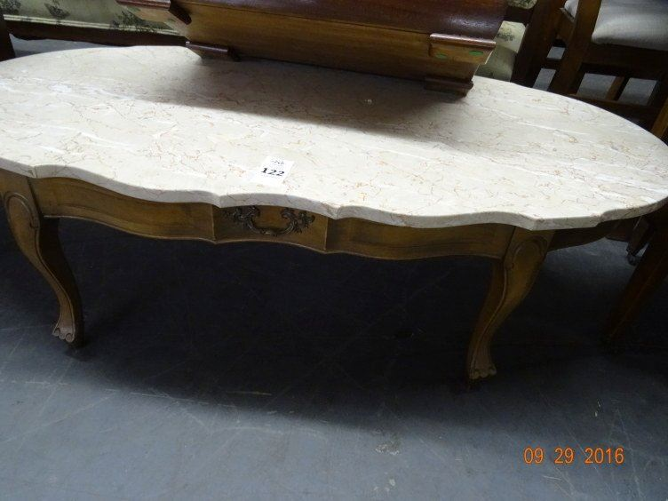 Set Oak Granite Top Coffee Table 2 Round End Tables