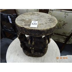 African Wood Carved Foot Stool