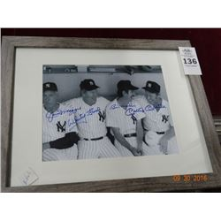 Autographed Framed Photo (Mantle, Martin, Ford & Dimaggio)
