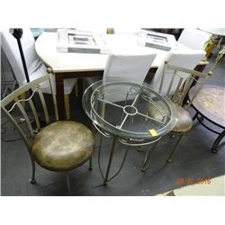 Metal Glasstop Round Settee w/2 Snakeskin Style Padded Chairs