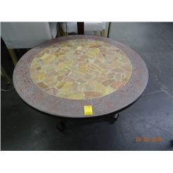 Metal/Rock Tile Top Round Coffee Table
