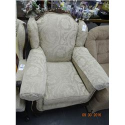 Mahogany Trimmed Padded Armchair