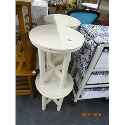 4 Carved Wood Round Side Tables - 4 Times the Money