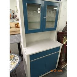 Grey & Blue Metal Hutch