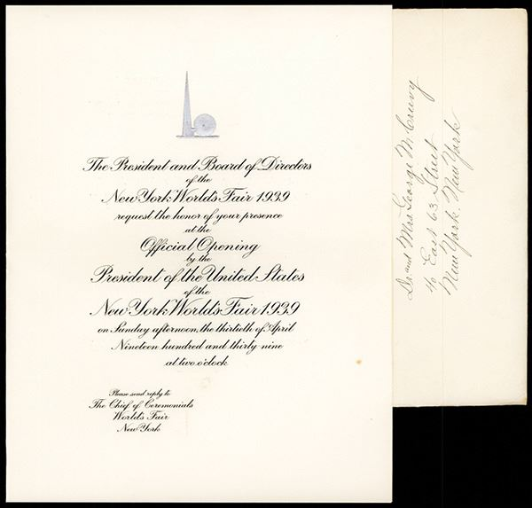 new york world s fair 1939 engraved invitation for official opening