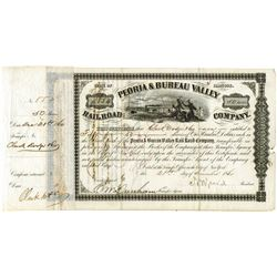 peoria and bureau valley railroad co 1860 issued stock signed by n b judd lincoln 39 s campaign. Black Bedroom Furniture Sets. Home Design Ideas