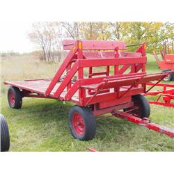 Red Rubber Tired Hay Rack (Set Up To Drive a Team of Horses