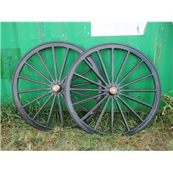 "New Wooden Wheels 45"" End to End (2)"