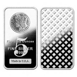 5 Oz. Silver Morgan Design Bullion Bar