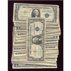 Lot of 100 US Silver Certificate's Circulated