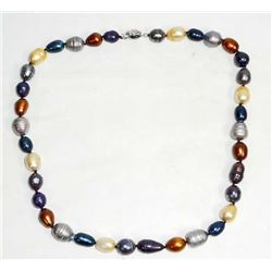 FRESH WATER PEARL MULTICOLOR NECKLACE WITH SILVER CLASP