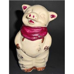 CAST IRON SMILING PIG FIGURAL STILL BANK