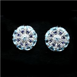 PAIR OF STERLING SILVER SKY BLUE TOPAZ AND TANZANITE EARRINGS