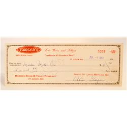 VINTAGE 1951 GARGERS SODA WATER AND SELZER COMPANY CHECK