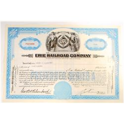 VINTAGE 1942 ERIE RAILROAD CO. STOCK CERTIFICATE