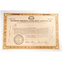 VINTAGE 1958 WALTHAM PRECISION INSTRUMENT CO. STOCK CERTIFICATE