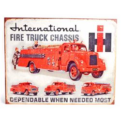 INTERNATIONAL FIRE TRUCK CHASSIS METAL ADVERTISING SIGN - 12.5X16