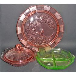LOT OF 3 PCS OF VINTAGE DEPRESSION GLASS - PINK AND GREEN