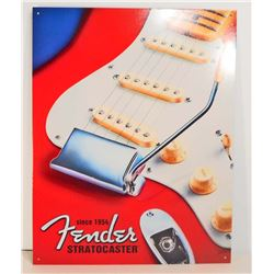 FENDER GUITARS METAL ADVERTISING SIGN - 12.5X16