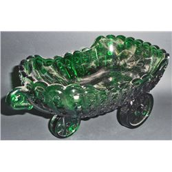 "GREEN DEPRESSION INSPIRED GLASS BUGGY SLIGH CANDY DISH - 9"" WIDE"