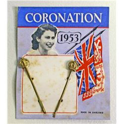VINTAGE 1953 QUEEN ELIZABETH CORONATION BOBBY PINS ON CARD