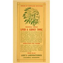 VERY RARE EARLY SEMINOLE INDIAN LIVER AND KIDNEY TONIC  ADVERTISING LABEL