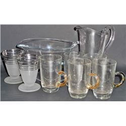 LOT OF 9 PCS OF VINTAGE GLASSWARE