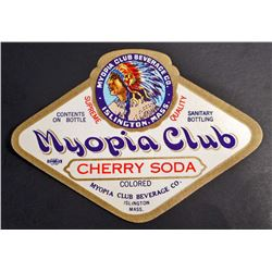 RARE VINTAGE MYOPIA CLUB CHERRY SODA LABEL