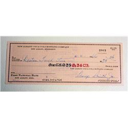 VINTAGE 1960S COCA COLA CHECK FROM NEW ALBANY MS PLANT