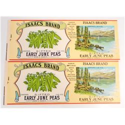 LOT OF 2 VINTAGE ISAACS EARLY JUNE PEAS CAN LABELS
