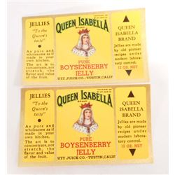 LOT OF 2 RARE VINTAGE QUEEN ISABELLA JELLY JAR LABELS