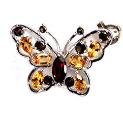 STERLING SILVER GARNET AND CITRINE BUTTERFLY PENDANT