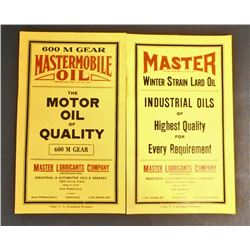 LOT OF 2 MASTER mOBILE oIL CAN lABELS