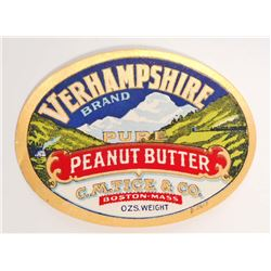 EARLY VERHAMPSHIRE PURE PEANUT BUTTER JAR ADVERTISING LABEL