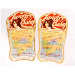 LOT OF 2 EARLY LANGTRY BALM ADVERTISING LABELS