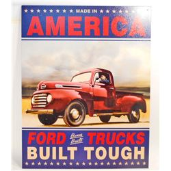 FORD TRUCKS BUILT TOUGH METAL ADVERTISING SIGN - 12.5X16