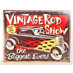 VINTAGE ROD SHOW METAL ADVERTISING SIGN - 12.5X16