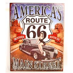 AMERICAS MAIN STREET ROUTE 66 METAL ADVERTISING SIGN - 12.5X16